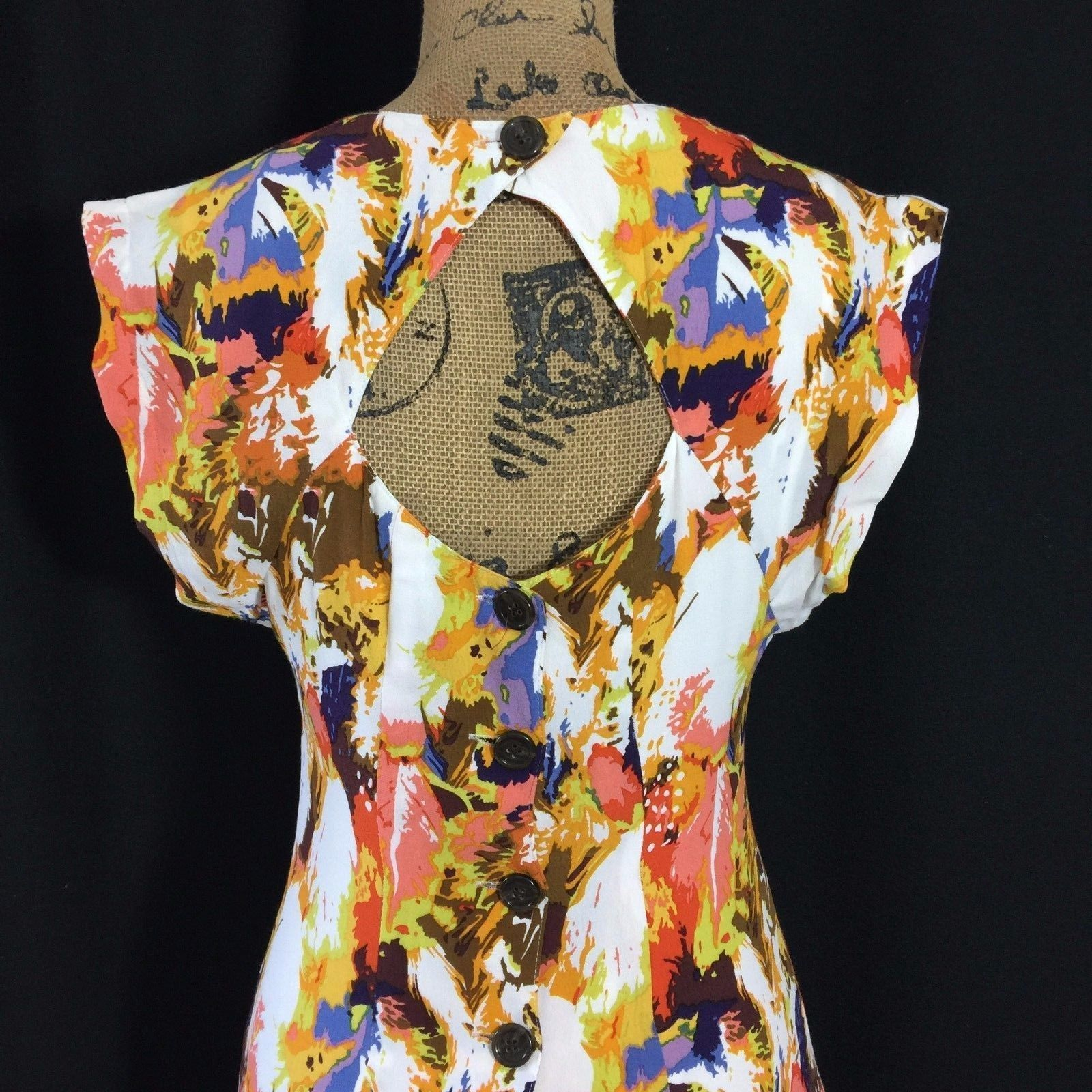 Anthropologie Dress 0 XS MAPLE By Some Relics Era Plumes Keyhole Back Pockets