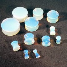 "PAIR-Stone Opalite Semi-Precious Saddle Flare Ear Plugs 25mm/1"" Gauge Bo... - $13.99"
