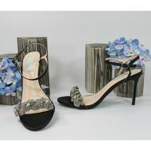 Betsey Johnson Harlo Crystal Floral Black Satin Wedding High Heels 9.5 NIB - $73.76