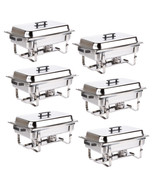 6 PACK CATERING STAINLESS STEEL CHAFER CHAFING DISH SETS 8 QT FULL SIZE ... - $176.19