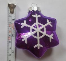 Blown Glass purple star Christmas xmas tree holiday season Ornament Pre-owned - $12.86