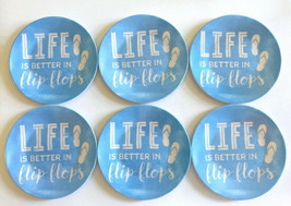 "Melamine Tidbit Appetizer Side Plates 6"" Set of 6 Life Is Better In Flip... - $26.61"