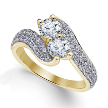 Sim Diamond Womens Promise Ring 14k Yellow Gold Finish 925 Sterling Solid Silver - $77.99