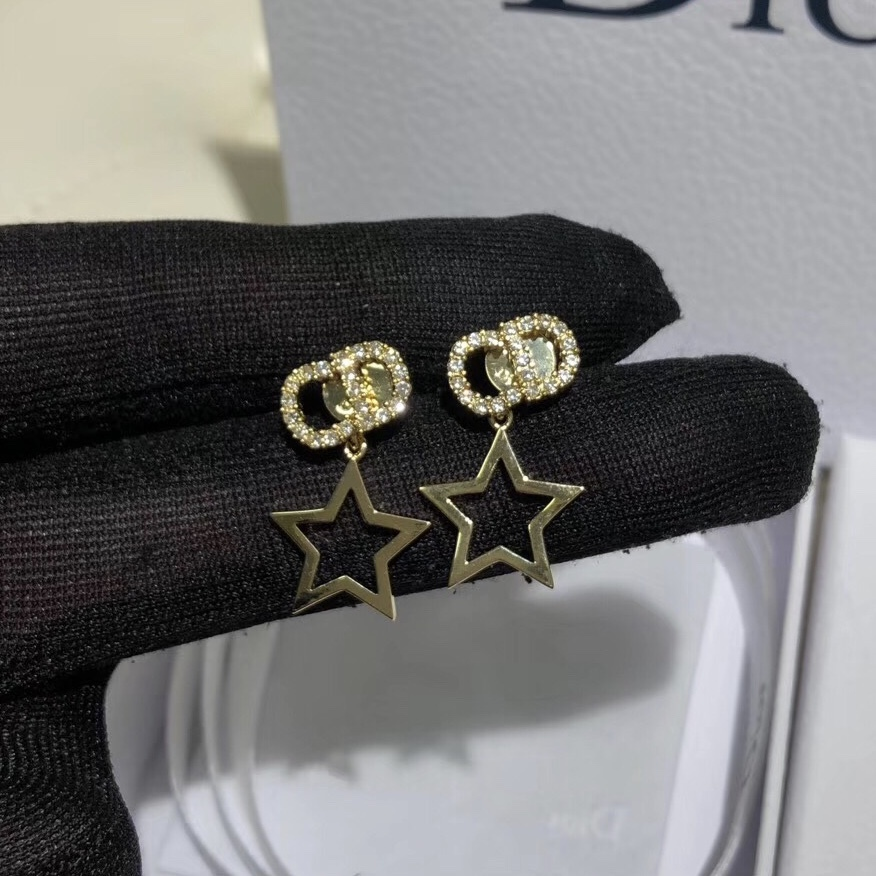 Authentic Christian Dior 2019 CD LOGO CRYSTAL STAR DANGLE EARRINGS