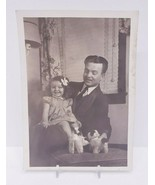 Vintage Black & White Picture Of Father And Daughter with Stuffed Animals - $9.50