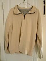 Van Heusen Sport Men's Size M Ivory Pullover Shirt Zipper Neck Excell. U... - $7.43