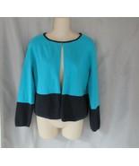 Liz Claiborne sweater cardigan Medium blue black color block open front - $13.67
