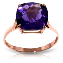 3.6 CTW 14K Solid Rose Gold Ring Natural Checkerboard Cut Purple Amethyst - £179.64 GBP
