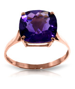 3.6 CTW 14K Solid Rose Gold Ring Natural Checkerboard Cut Purple Amethyst - $249.14