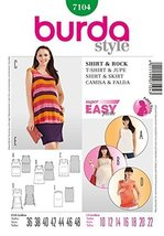 Burda Ladies Sewing Pattern 7104 - Shirt & Skirt Sizes: 10-22 - $13.72