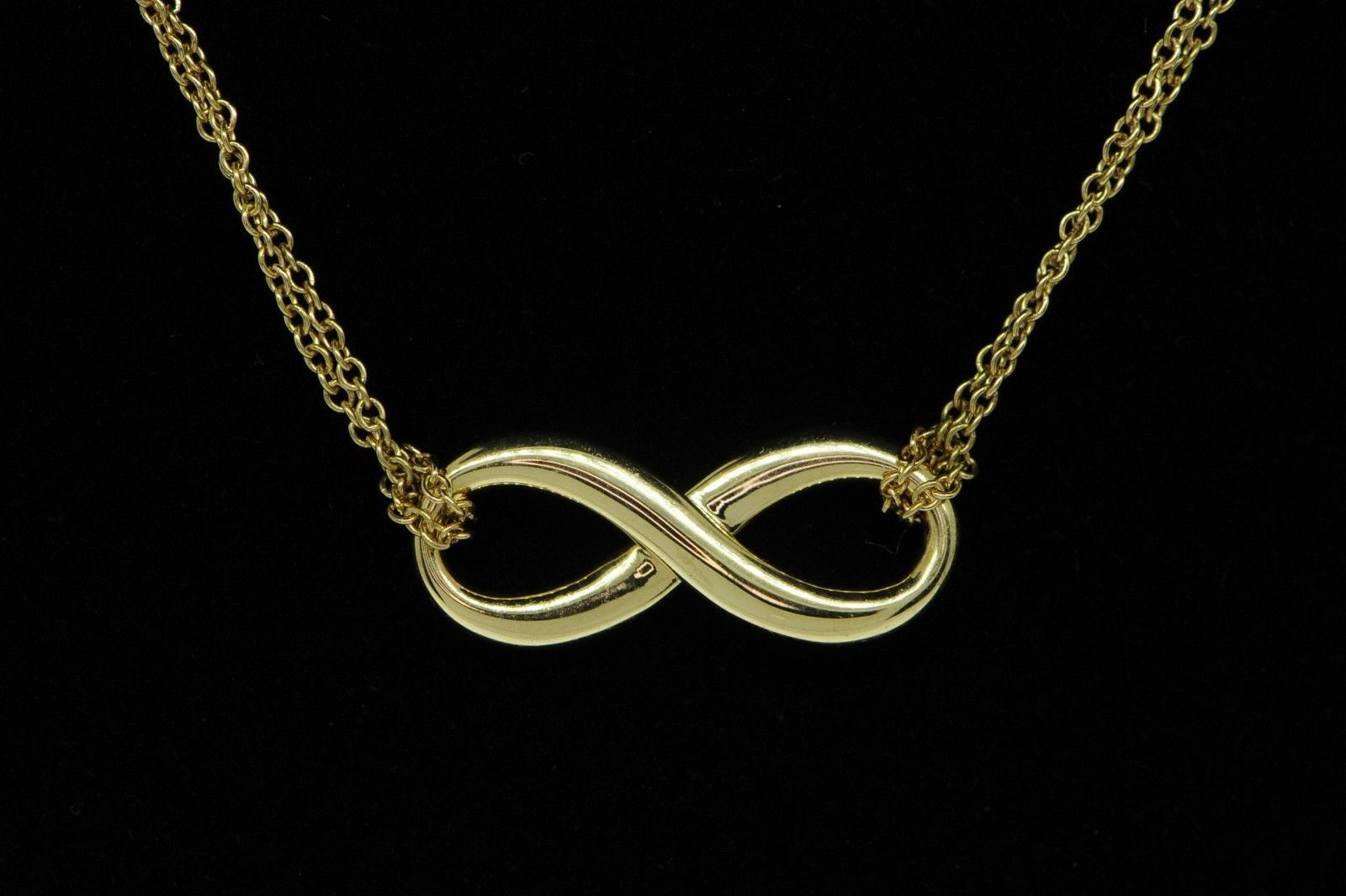 """TIFFANY & CO. 18K Yellow Gold Infinity Pendant on Double Chain (17"""" Retail $900)"""
