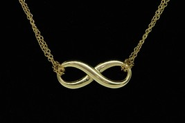 "TIFFANY & CO. 18K Yellow Gold Infinity Pendant on Double Chain (17"" Reta... - $575.00"