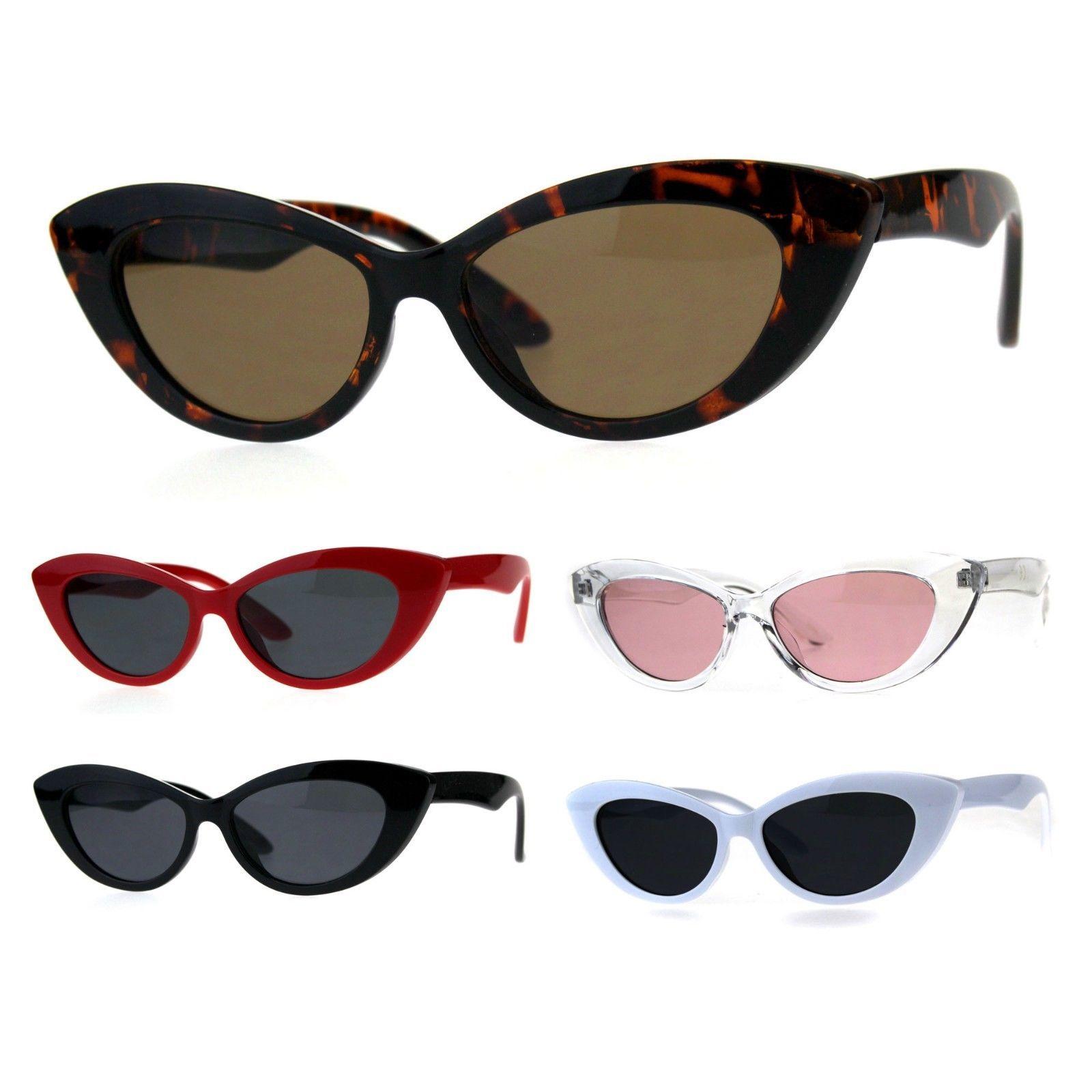 Womens Mod Minimal Plastic Cateye Goth Sunglasses