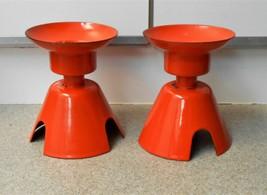 2 Large Atomic Vintage Orange Enamel Metal Candle Holder Set Mid Century... - $98.99