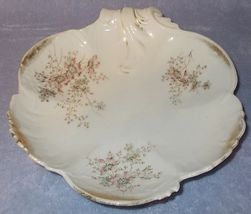 Old Antique German Dresden Floral Shell Bowl Clematis - $39.95