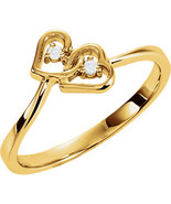 14K Yellow Gold Double Heart Ring - $290.00+