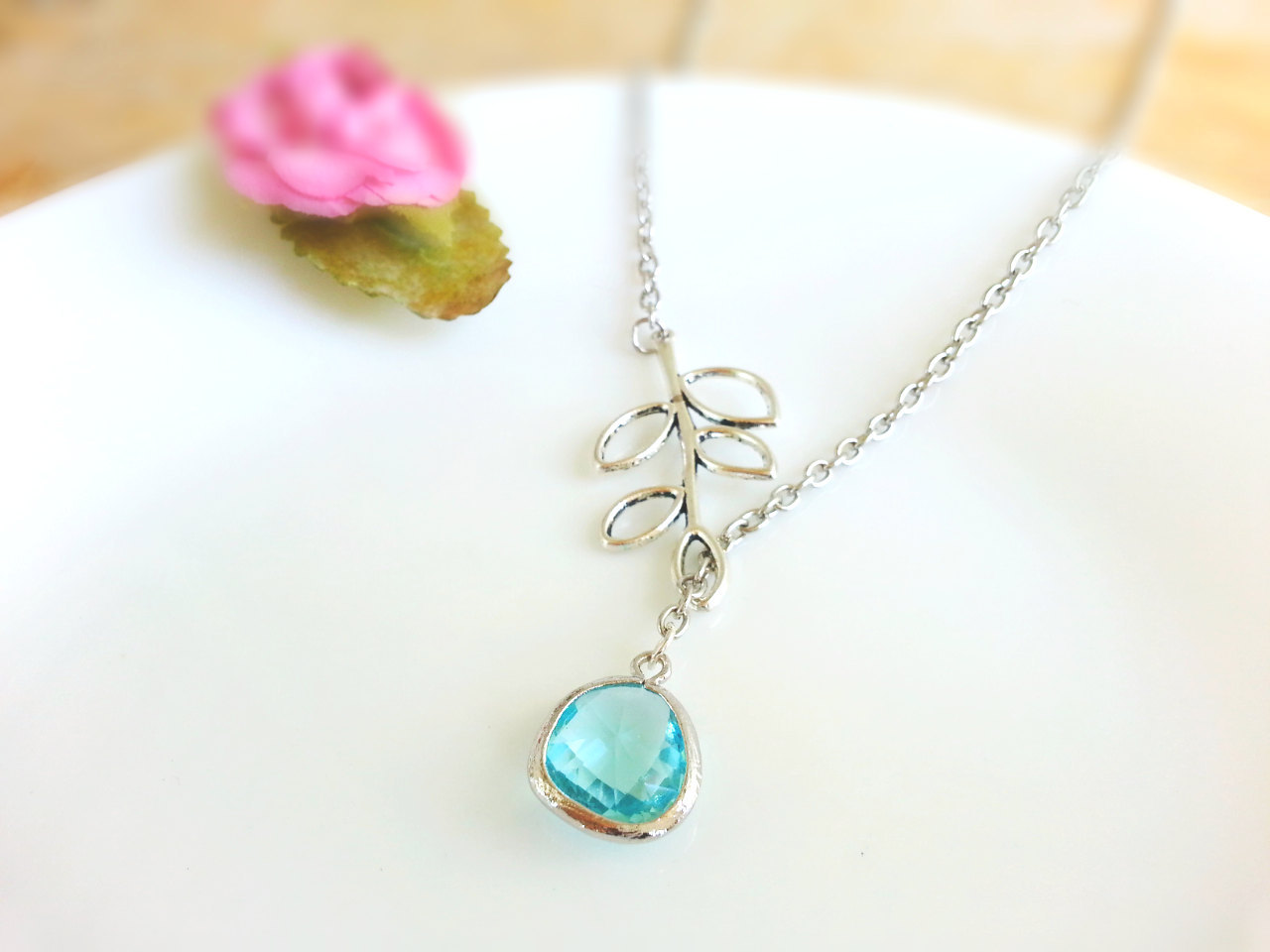Aqua Glass Gemstone Silver Branch Lariat Necklace Aqua Gem Necklace Bridesmaid N