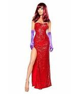 Sexy 2pc Womens Jessica Rabbit Sequin Corset & Long Dress Costume S,M,L - $69.95+