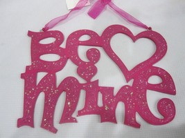 """Valentines """"BE MINE"""" Glitter Hanging Sign Pink Hearts 10.5"""" Decorations ... - $14.99"""