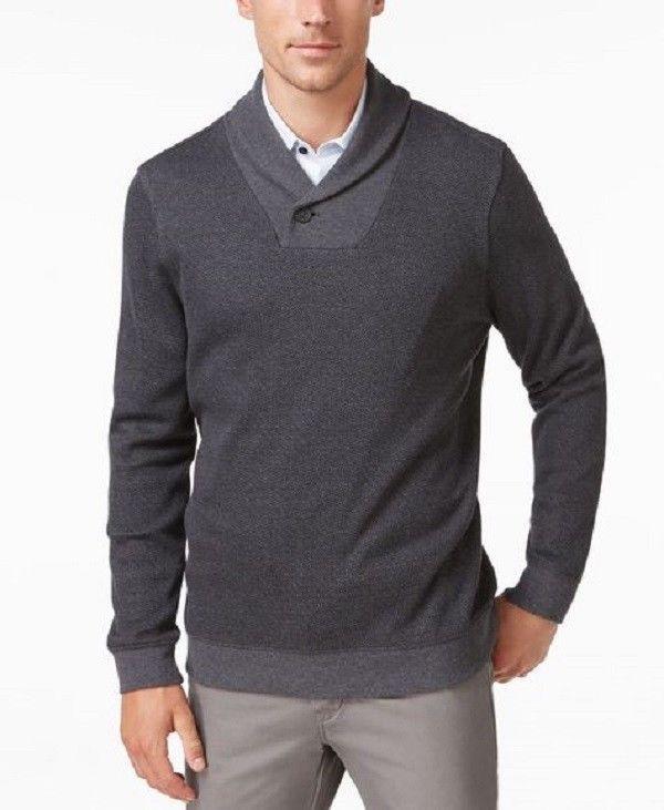 Tasso Elba Men's Classic Fit Shawl-Collar Sweater Grey Size X-Large