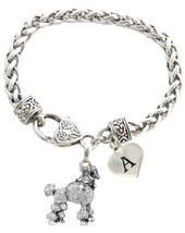 Custom Poodle Dog Silver Bracelet Jewelry Choose Initial Family Charms Toy Mini - $14.87