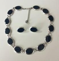 Vtg Signed NAPIER Navy Blue Enamel Oval Link Necklace Clip Earrings Set  - $14.84