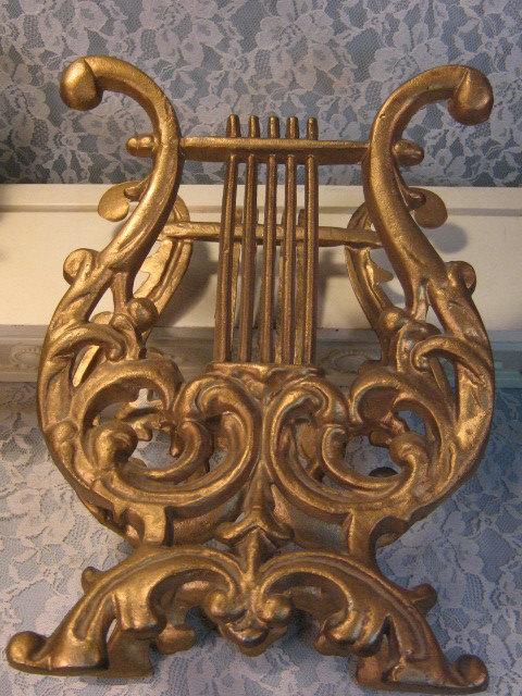 Vintage Home Interior Gold Cast Metal Harp Magazine Rack, Hollywood Regency 1970
