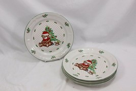 "Meiwa Xmas Tree Bear Dinner Plates 10.75"" Set of 8 - $64.67"