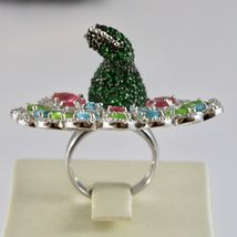 925 Silver Ring Rhodium and Burnished with Zircon Cubic Shaped Peacock image 4
