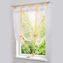 ISINO 1 Piece Tab Top Ribbon Tie Up Embroidered Curtain Sheer Voile Ball... - $24.52