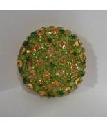 Vintage Signed Austria Large Gold-tone Green Rhinestone Brooch - £43.04 GBP
