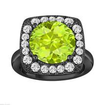 6.18 CARAT GREEN PERIDOT & DIAMOND ENGAGEMENT RING VINTAGE STYLE 14K BLA... - $4,150.00