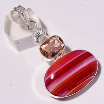 "Red Lace Agate Faceted Morganite Gemstone Jewelry Pendant S-2.40"" AU-783 - $4.56"