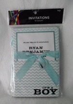 Baby Boy Birth Announcements Card Kit Teal Chevron Ribbon Print Own Its ... - $8.90