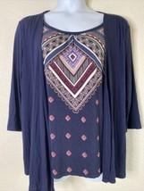 Croft & Barrow Womens Size XL Blue Geometric Pattern Blouse 3/4 Sleeve - $15.84