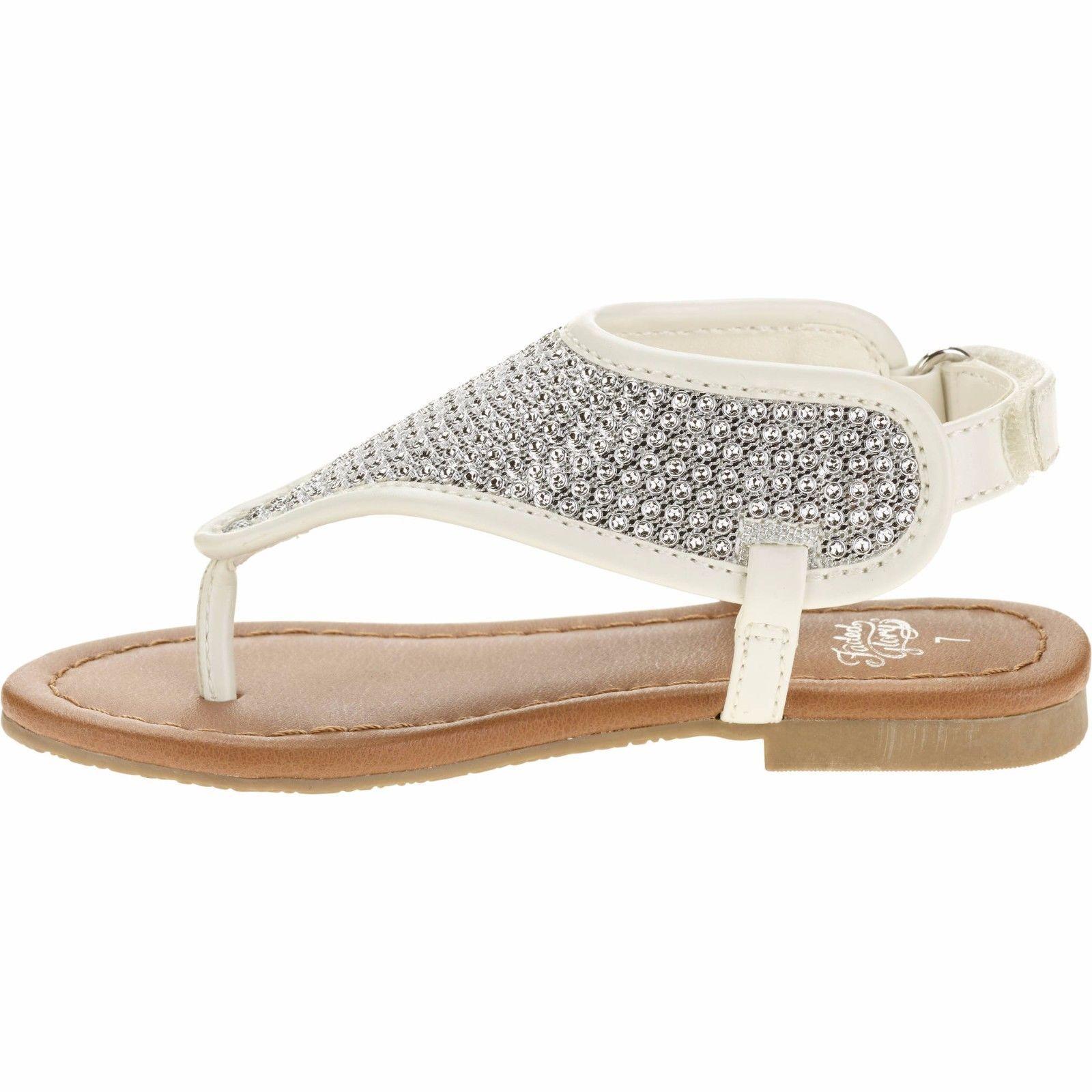 Garanimals Infant Toddler Girls Rhinestone Flip Flop Sandals Size 2 White