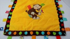 Taggies monkey baby security blanket yellow brown green satin back polka dots - $9.89