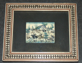 Lot 3 Antique Persian Handmade Miniature Painting on Bone Islamic Artwork Framed image 7