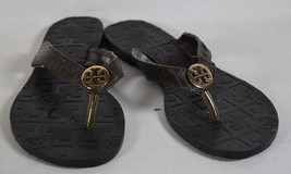 Tory Burch Womens Thora Flip Flop Thongs Black Logo Footbed Sandals 40 - $79.20
