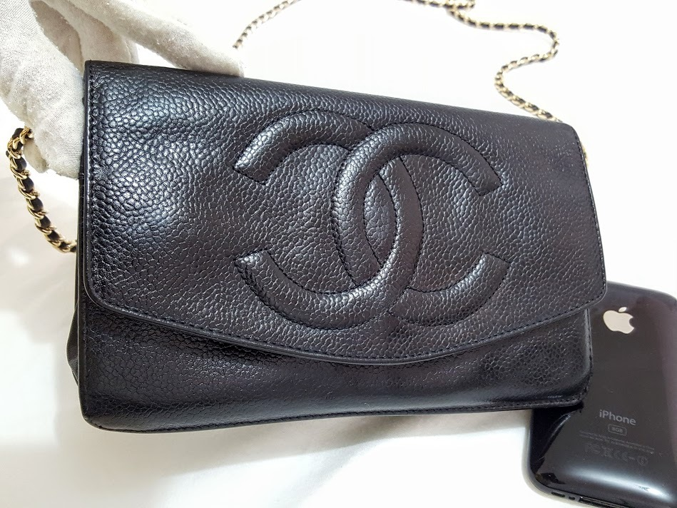 Auth Chanel Timeless Black Caviar Leather Gold Chain Wallet WOC Crossbody Bag image 9