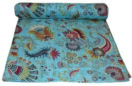 Vintage Indian Kantha Bedspread Handmade Quilt Throw 100%Cotton Blanket ... - $64.10