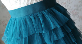 DEEP GREEN High Waist Knee Length Tiered Tulle Skirt Wedding Party Tulle Skirts image 6