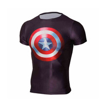 Men Short Sleeve Tee Marvel Captain America Compression Running Cycling T-shirt - $9.99