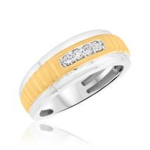 Men's 0.14 Cts Round Sim Diamond Four Stone Wedding Band Ring 14K White ... - $73.99