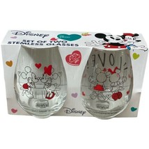 Disney Mickey & Minnie IN LOVE Stemless Wine Glass Gift Set Collectible Red - $32.93