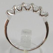 Ring aus Weißgold 750 18K, Verlobt 5 Zirkonia Kubische CT 1.00, Made in Italy image 3