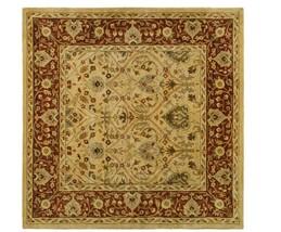 6' Square Persian Area Rug, 100% Wool, Handmade, Hand Tufted - Ivory/Rust  - $391.42