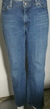 Lee Natural Straight Leg Jeans Size 12 Medium 34x30 Stretch Distressed Hem - $16.82