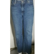 Lee Natural Straight Leg Jeans Size 12 Medium 34x30 Stretch Distressed Hem - $16.82