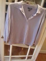 Vtg Shabby Chic Cashmere Lavender Collar 5 Button Pullover Est M  - $19.79
